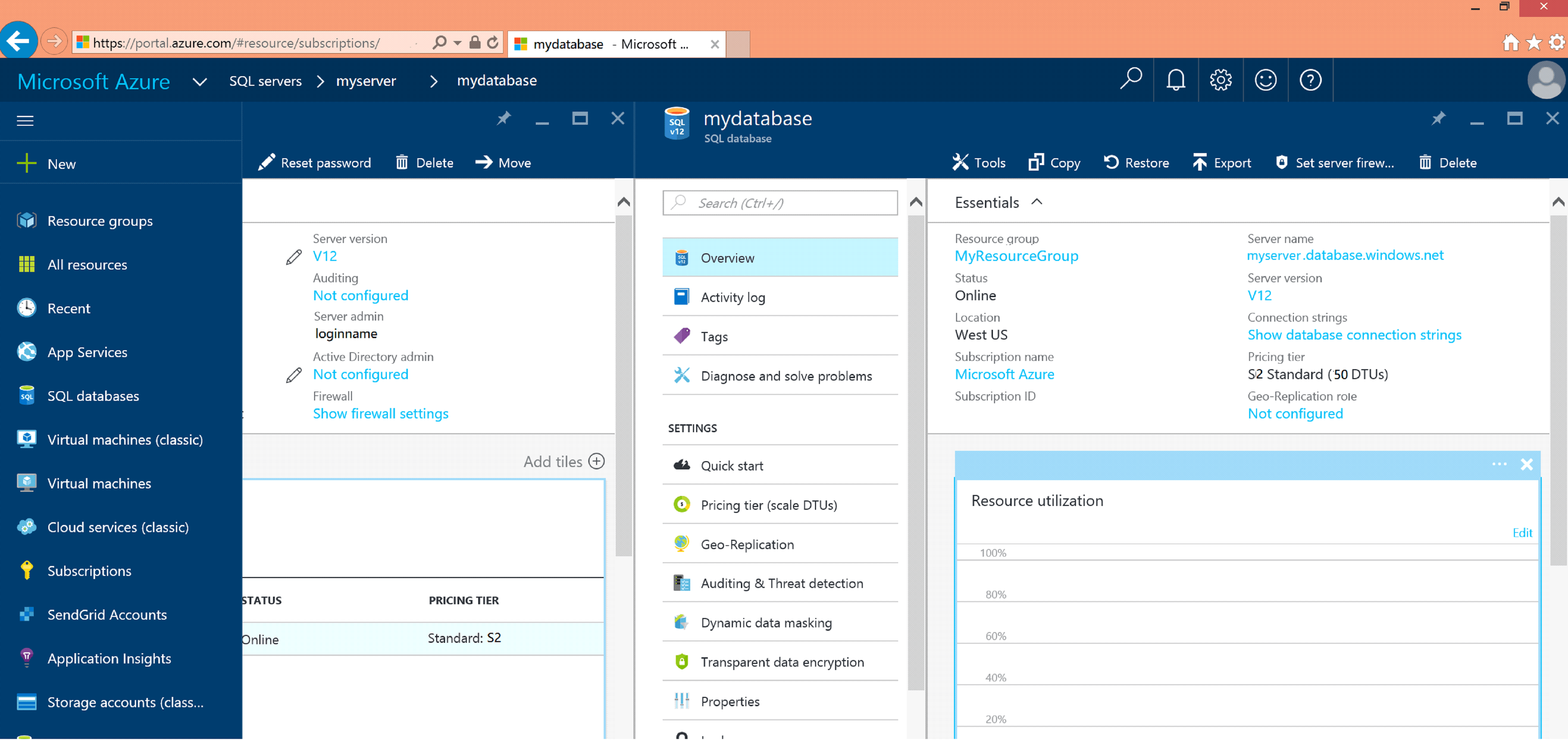 Azure Database Screen