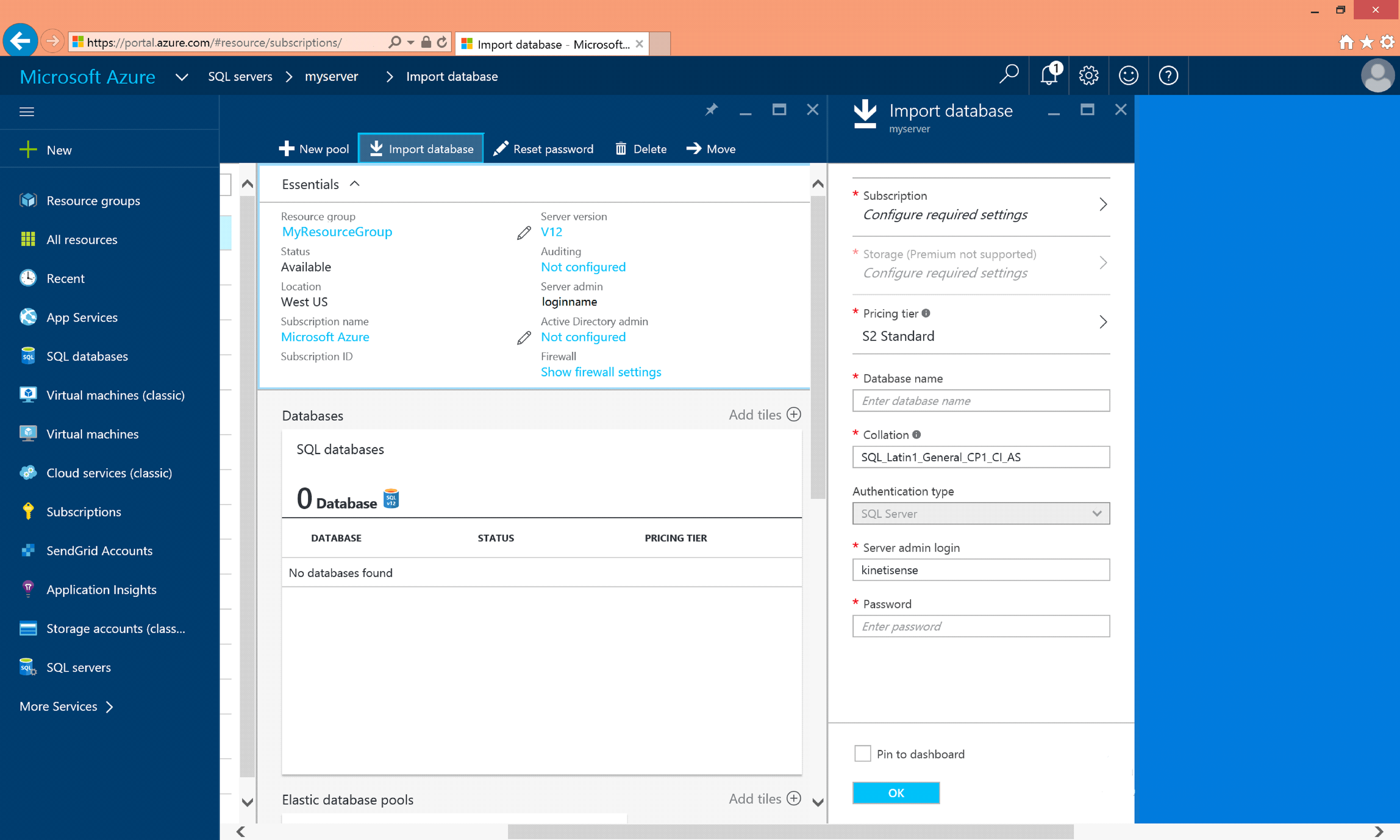 Azure Import Database