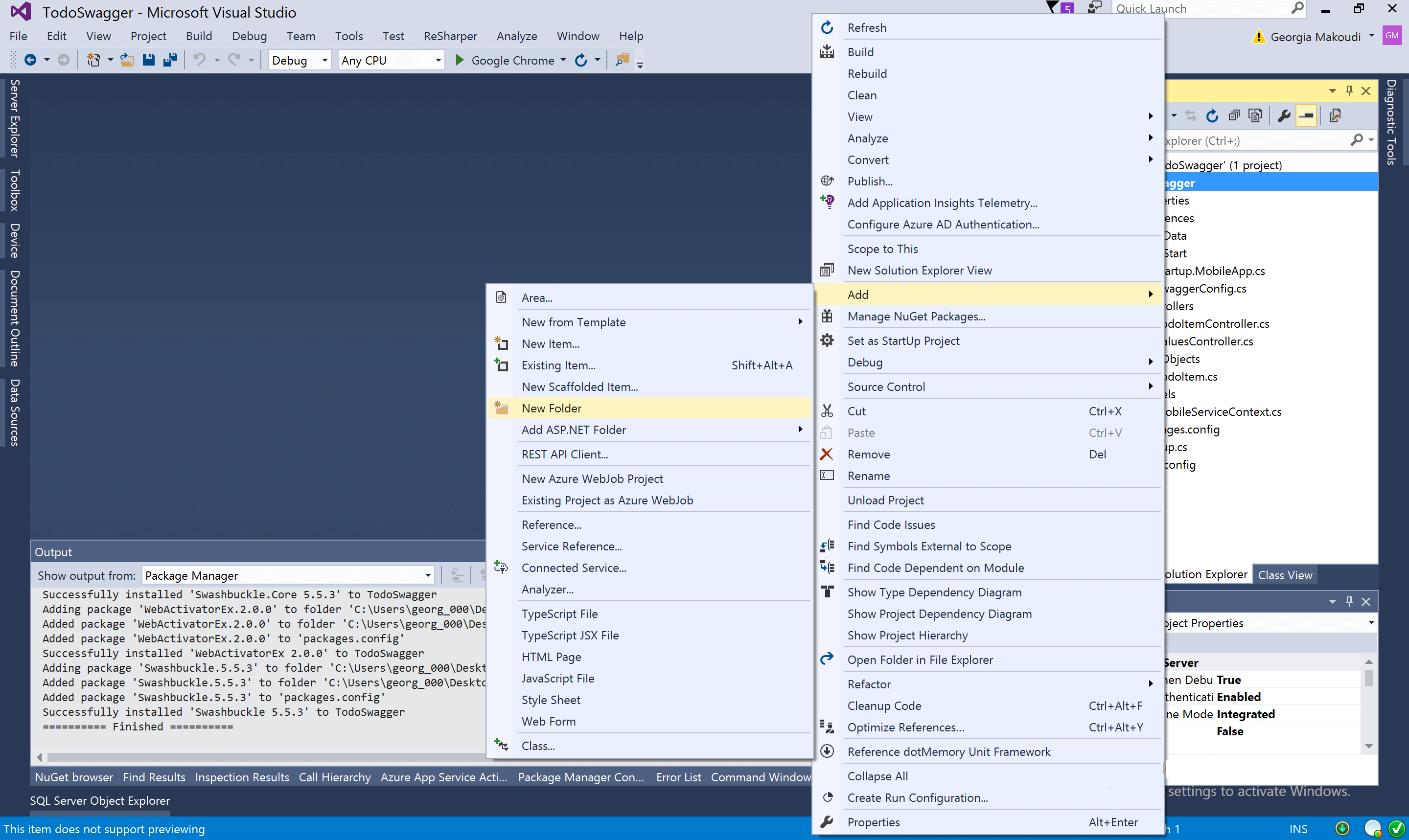 Visual Studio Add Folder