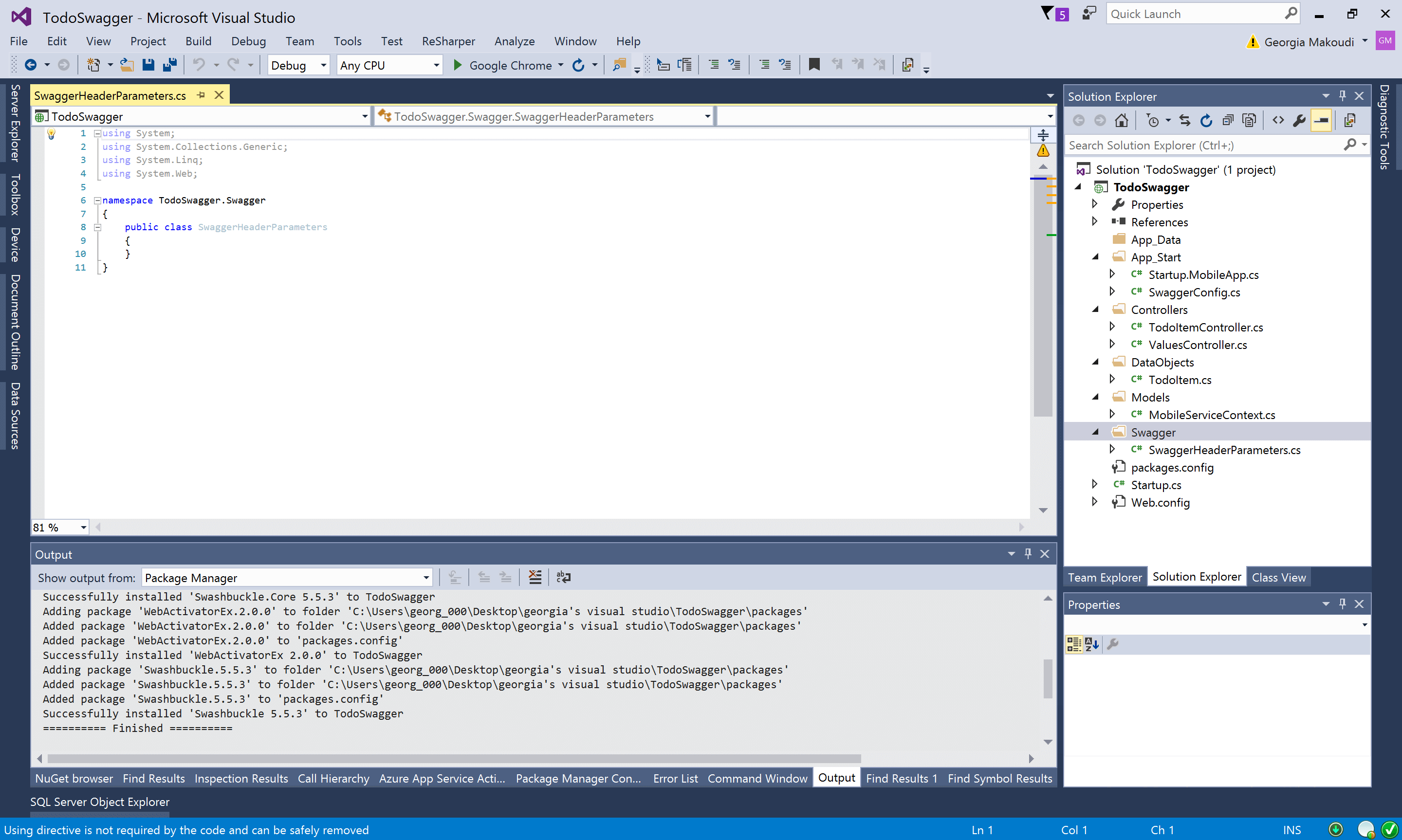 Visual Studio New Empty Class