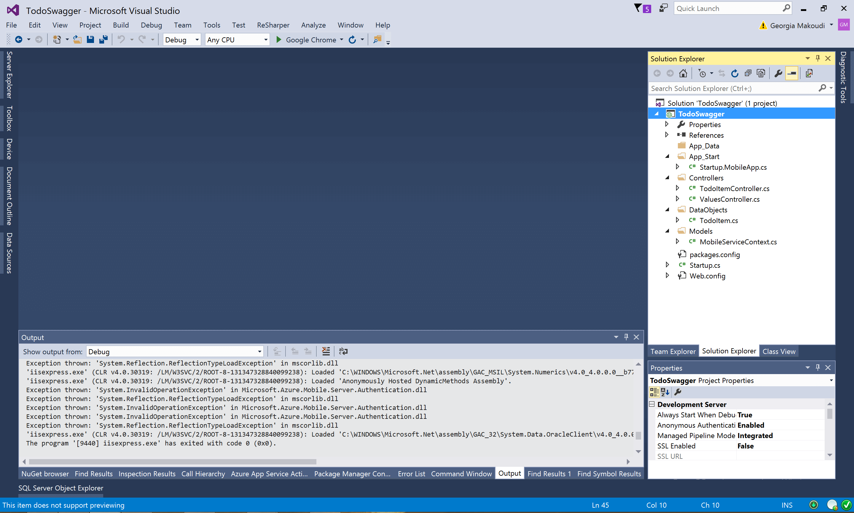 Visual Studio Start Screen