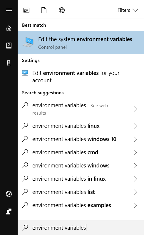 Windows Search Environment Variables
