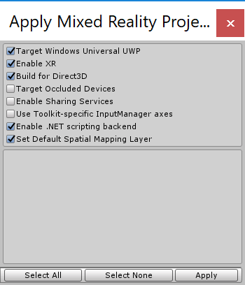 Unity3D Mixed Reality Project Settings