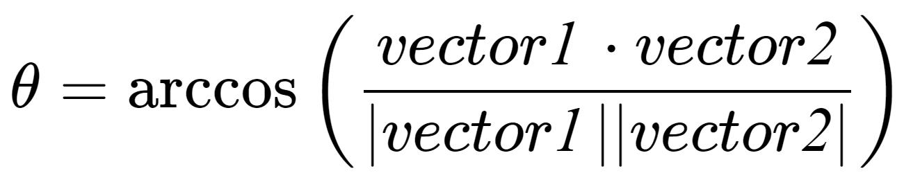 Angle Formula - 2 Vectors 3D
