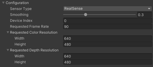 Unity Editor sensor type - RealSense