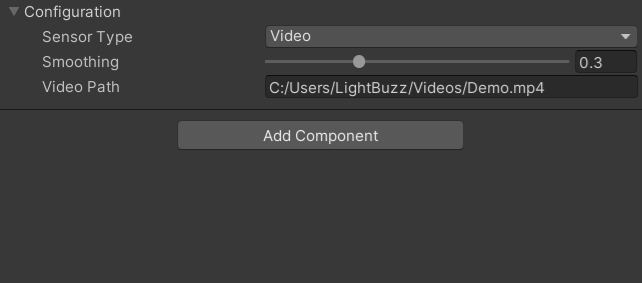 Unity Editor sensor type - Video