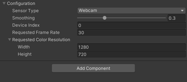 Unity Editor sensor type - Webcam